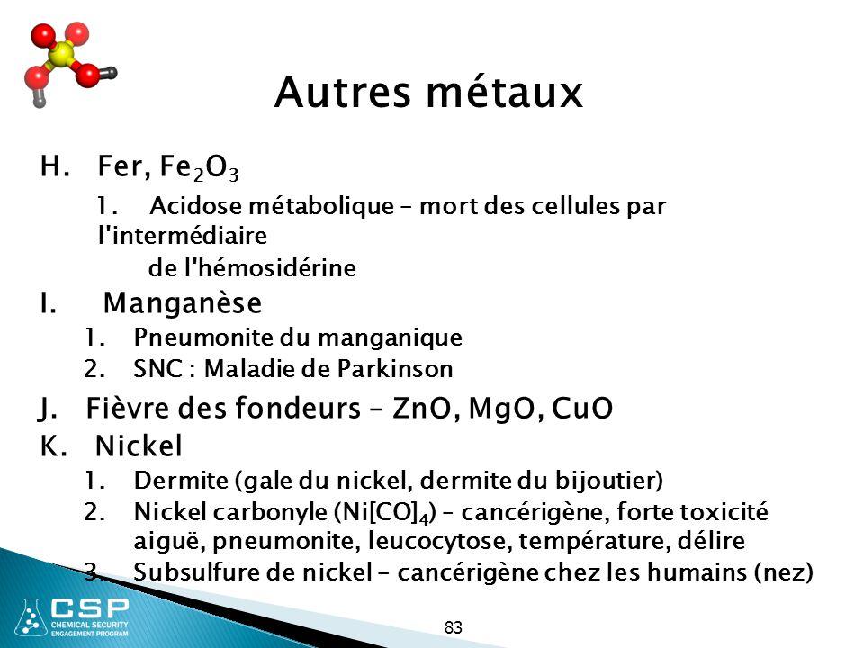 Autres métaux H. Fer, Fe2O3. 1. Acidose métabolique – mort des cellules par l intermédiaire. de l hémosidérine.