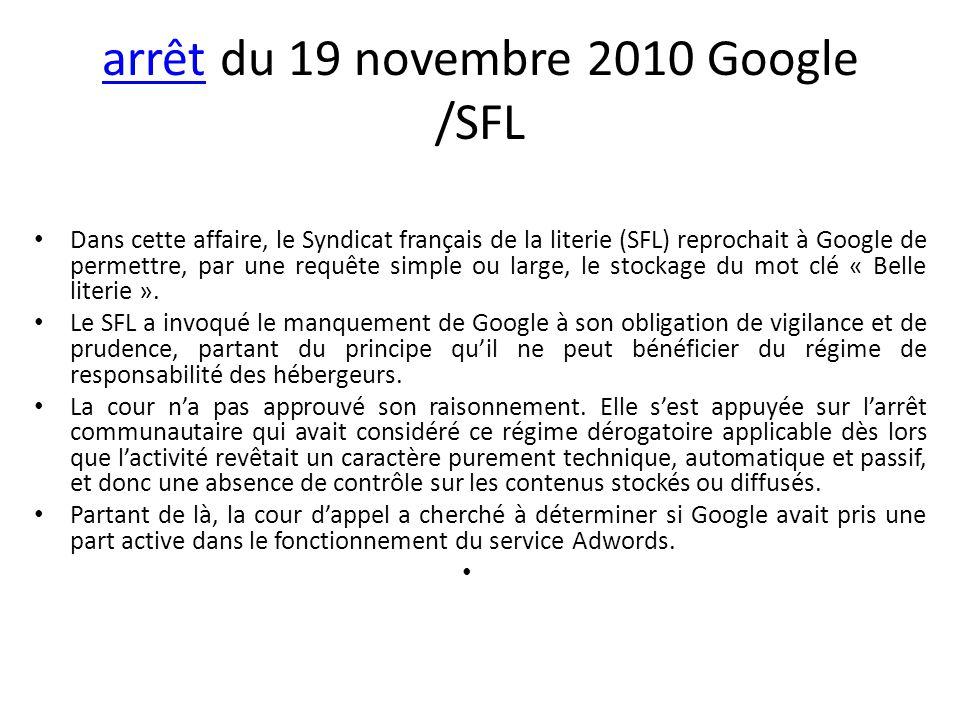 arrêt du 19 novembre 2010 Google /SFL