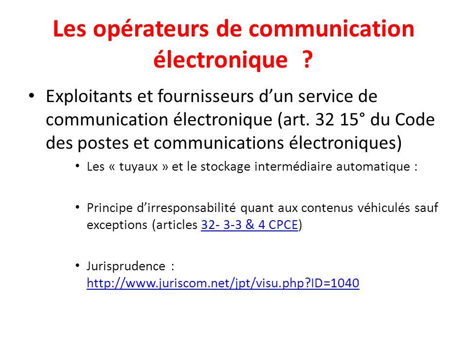 Les opérateurs de communication électronique