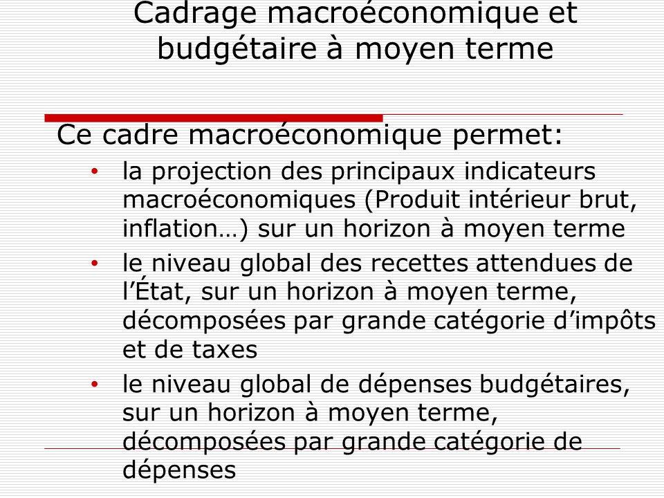 Cadrage macroéconomique et budgétaire à moyen terme