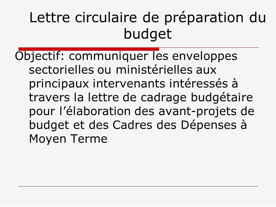 Lettre circulaire de préparation du budget
