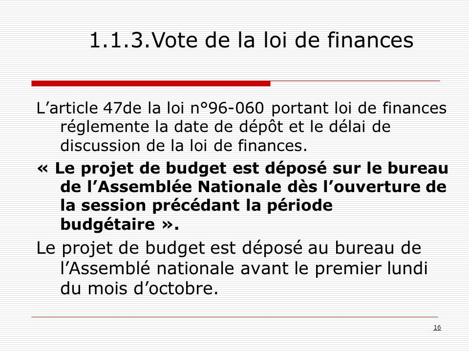 1.1.3.Vote de la loi de finances