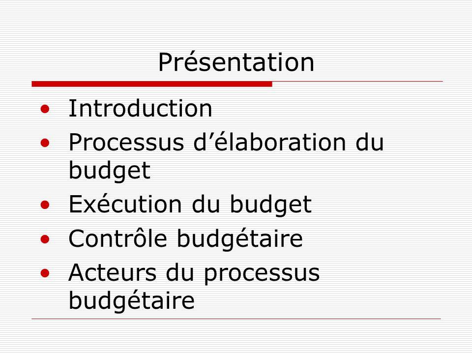 Présentation Introduction Processus d'élaboration du budget