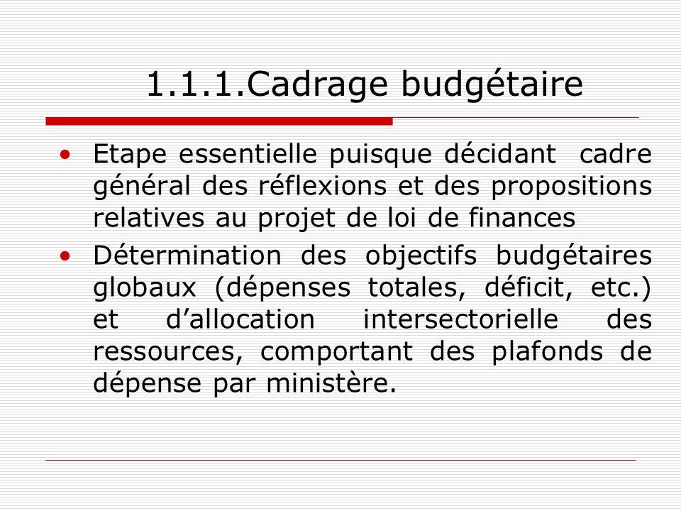 1.1.1.Cadrage budgétaire Etape essentielle puisque décidant cadre général des réflexions et des propositions relatives au projet de loi de finances.