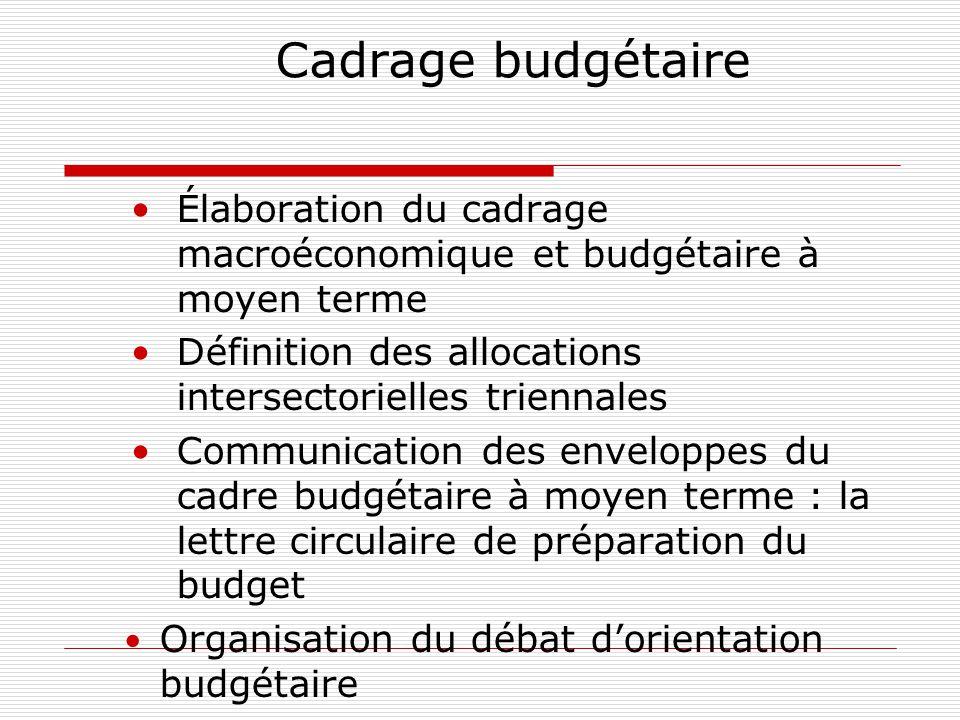 Cadrage budgétaire Élaboration du cadrage macroéconomique et budgétaire à moyen terme. Définition des allocations intersectorielles triennales.