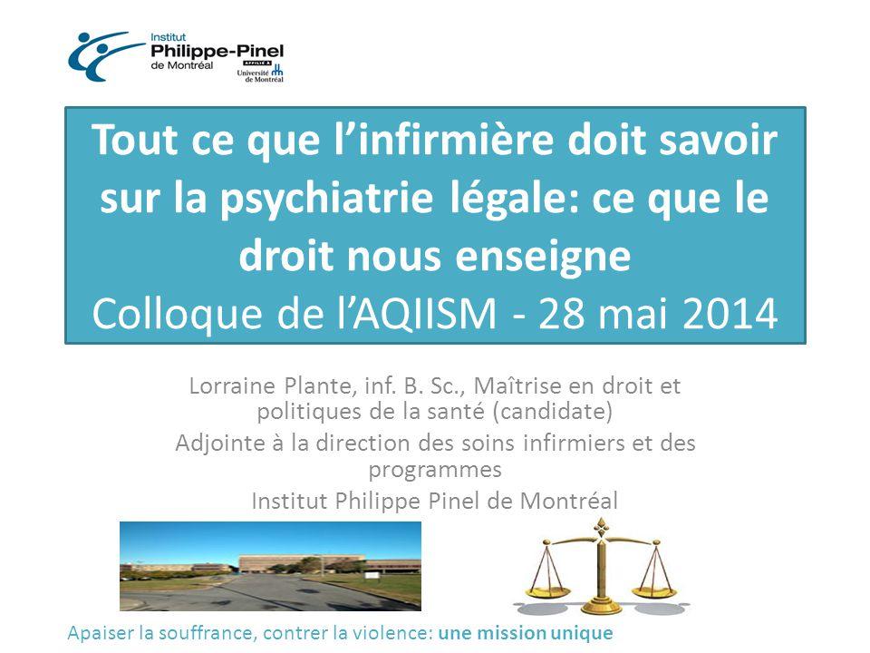 Tout ce que l'infirmière doit savoir sur la psychiatrie légale: ce que le droit nous enseigne Colloque de l'AQIISM - 28 mai 2014