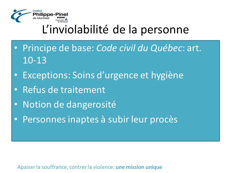 L'inviolabilité de la personne