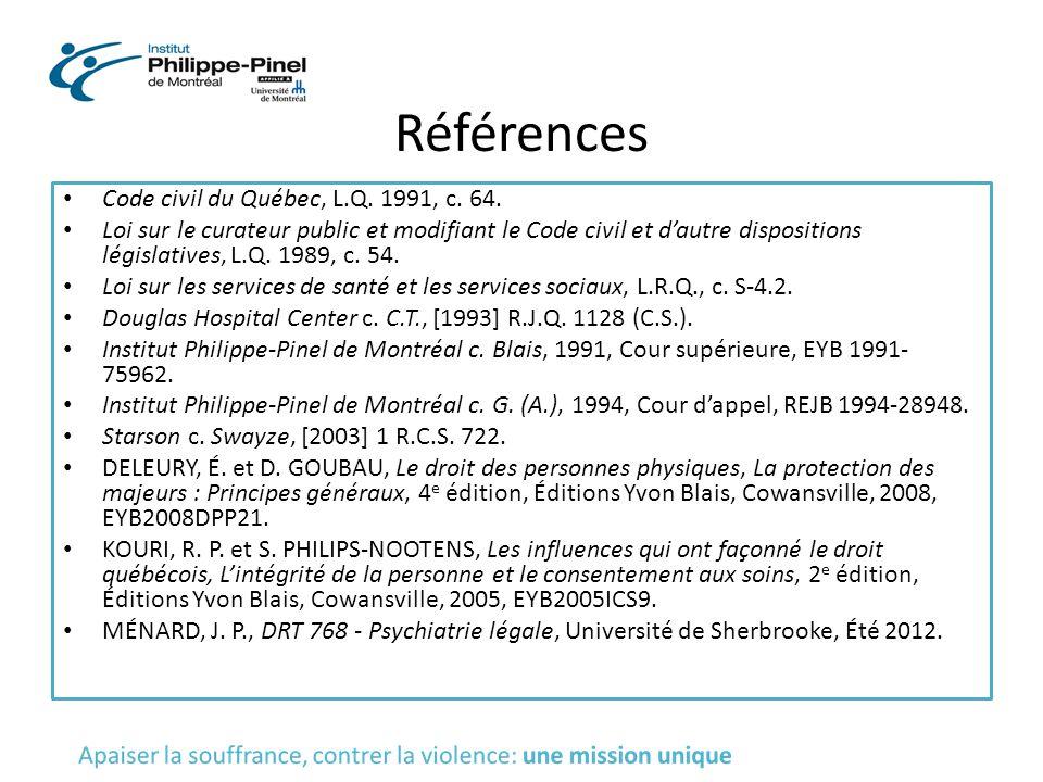 Références Code civil du Québec, L.Q. 1991, c. 64.