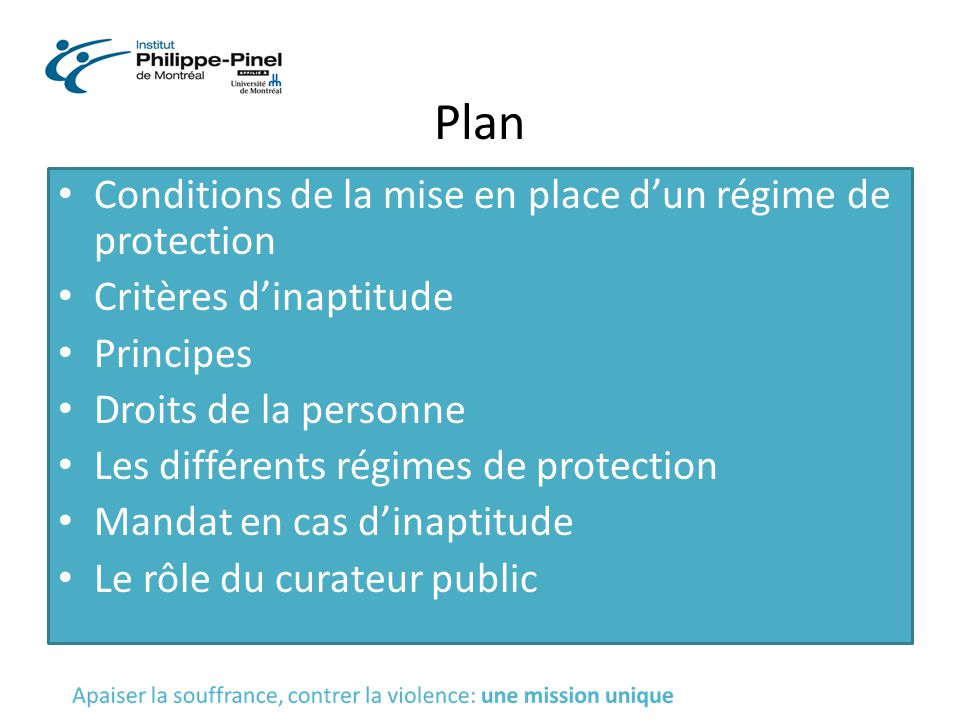 Plan Conditions de la mise en place d'un régime de protection