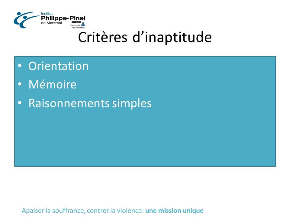 Critères d'inaptitude
