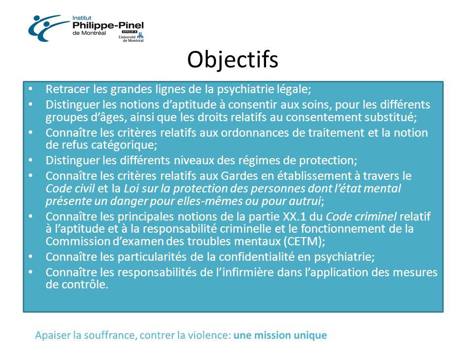 Objectifs Retracer les grandes lignes de la psychiatrie légale;