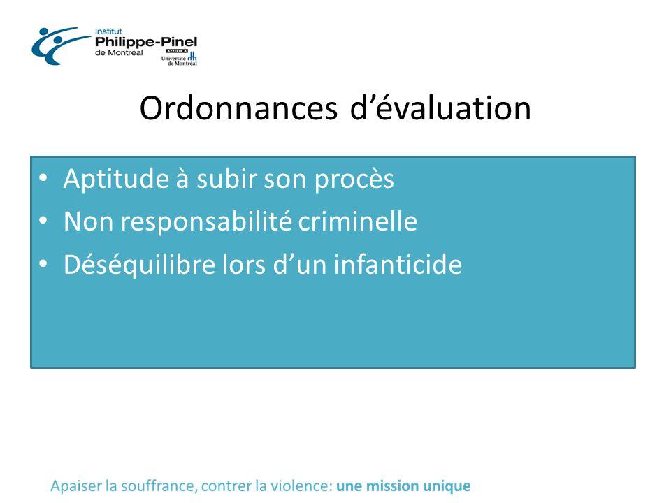 Ordonnances d'évaluation