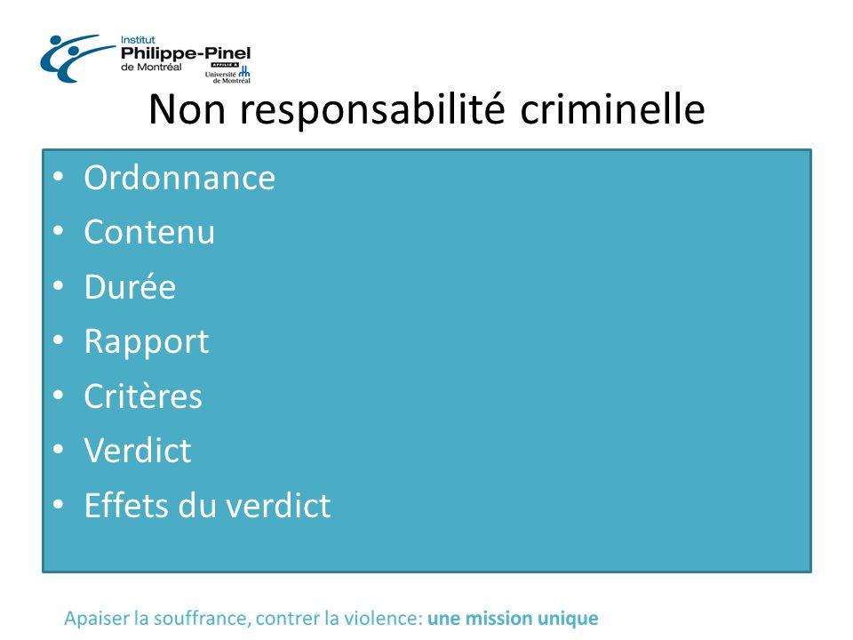 Non responsabilité criminelle