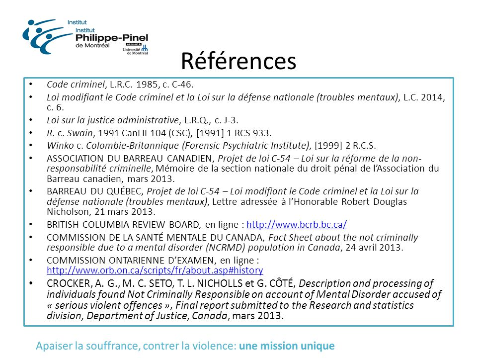 Références Code criminel, L.R.C. 1985, c. C-46.