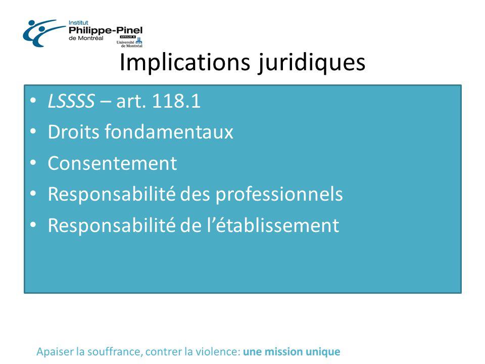 Implications juridiques