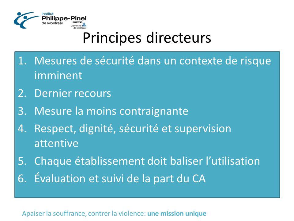 Principes directeurs Mesures de sécurité dans un contexte de risque imminent. Dernier recours. Mesure la moins contraignante.