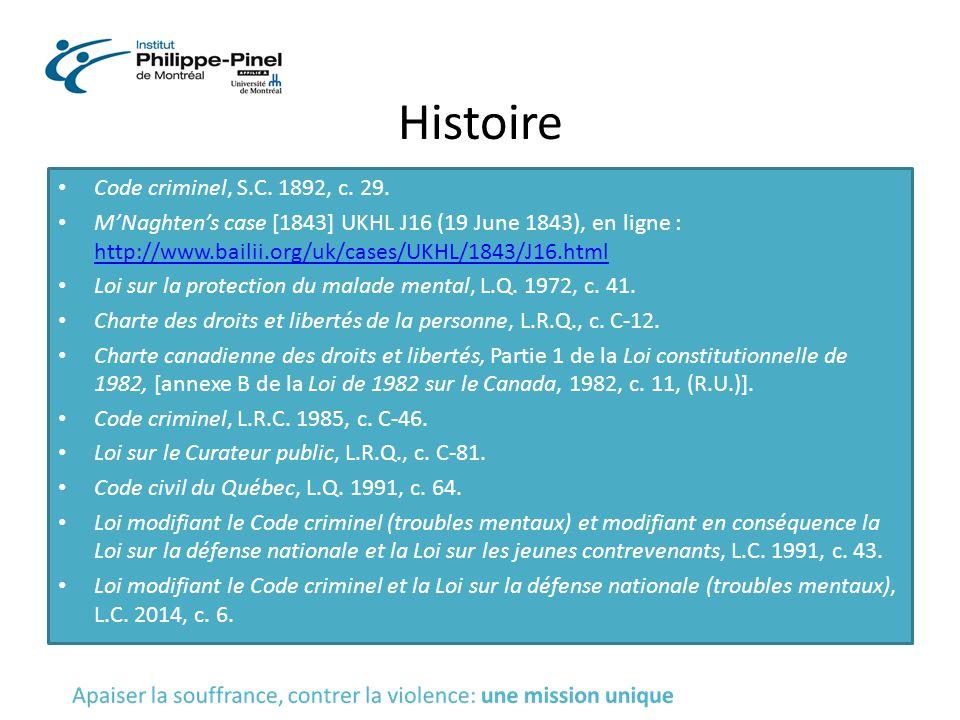Histoire Code criminel, S.C. 1892, c. 29.