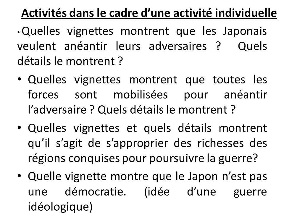 Activités dans le cadre d'une activité individuelle