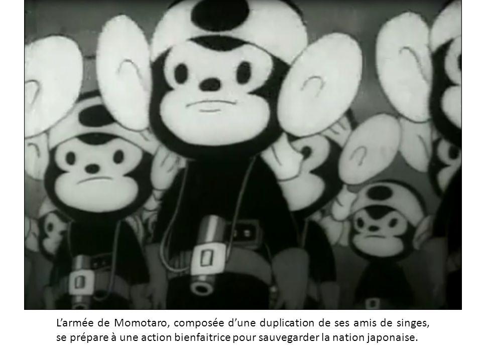 L'armée de Momotaro, composée d'une duplication de ses amis de singes, se prépare à une action bienfaitrice pour sauvegarder la nation japonaise.