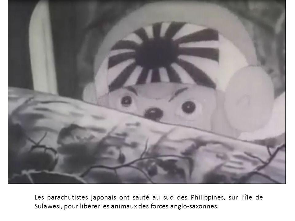 Les parachutistes japonais ont sauté au sud des Philippines, sur l'île de Sulawesi, pour libérer les animaux des forces anglo-saxonnes.