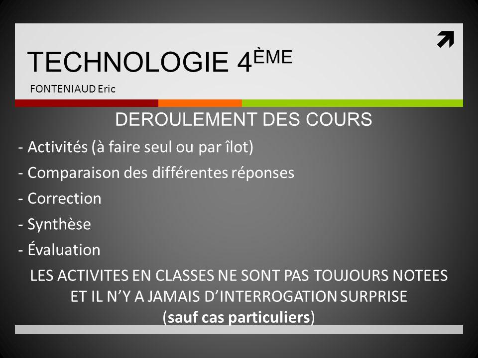 TECHNOLOGIE 4ÈME DEROULEMENT DES COURS