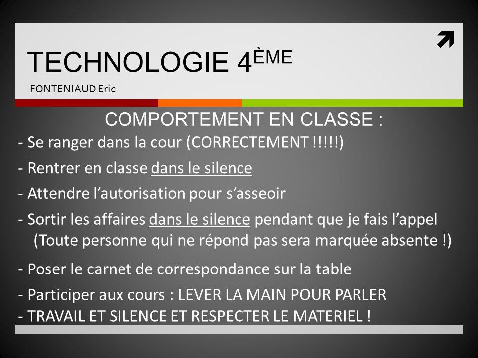TECHNOLOGIE 4ÈME COMPORTEMENT EN CLASSE :