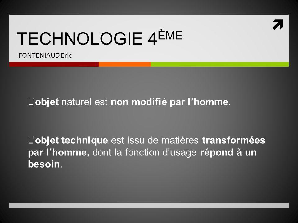 TECHNOLOGIE 4ÈME L'objet naturel est non modifié par l'homme.