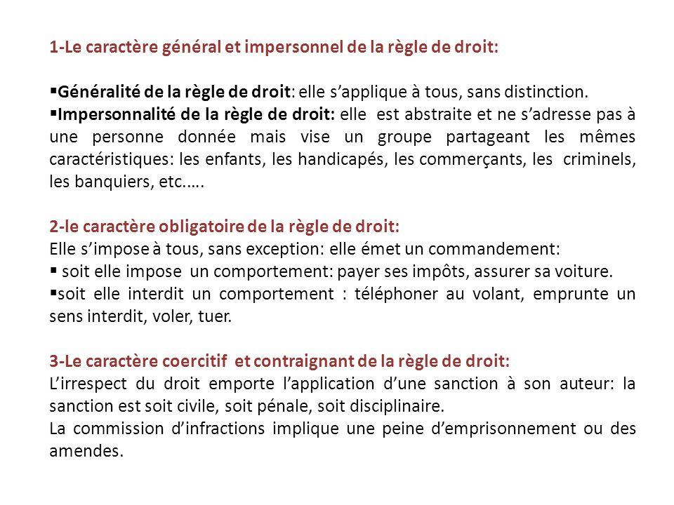 1-Le caractère général et impersonnel de la règle de droit: