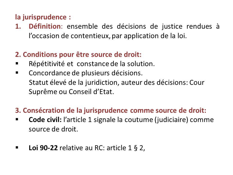 la jurisprudence : Définition: ensemble des décisions de justice rendues à l'occasion de contentieux, par application de la loi.