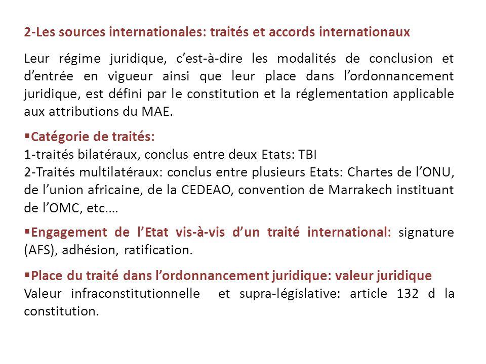 2-Les sources internationales: traités et accords internationaux