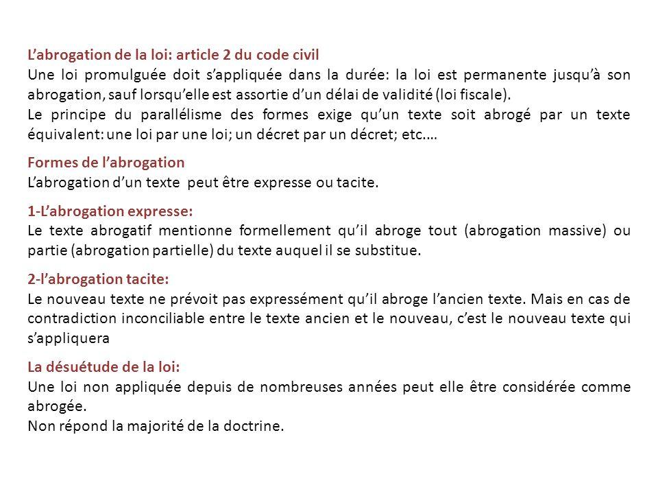 L'abrogation de la loi: article 2 du code civil
