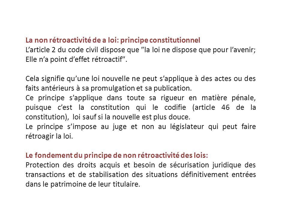 La non rétroactivité de a loi: principe constitutionnel
