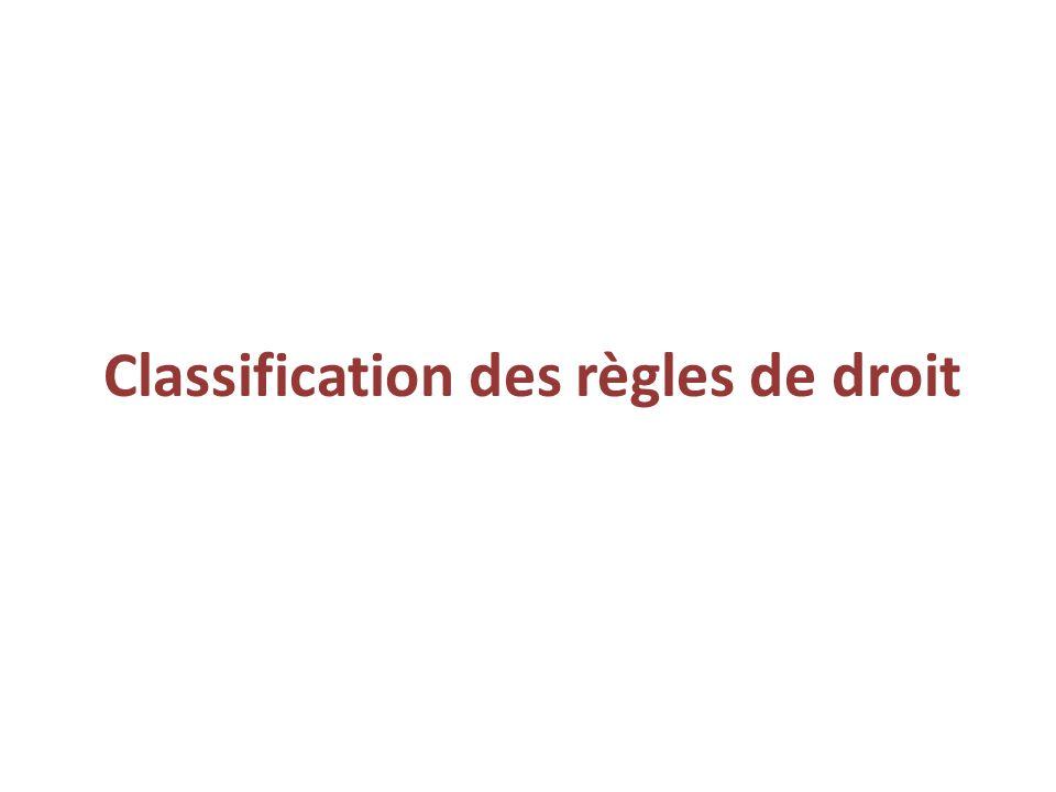 Classification des règles de droit