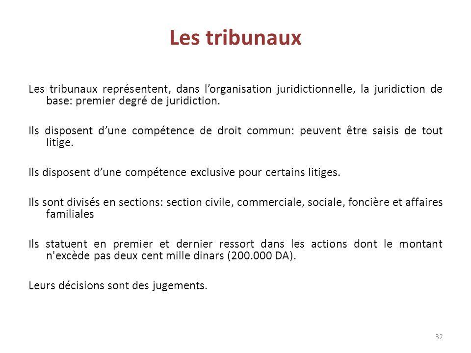 Les tribunaux Les tribunaux représentent, dans l'organisation juridictionnelle, la juridiction de base: premier degré de juridiction.