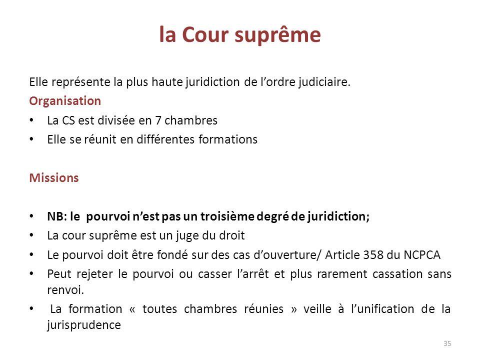 la Cour suprême Elle représente la plus haute juridiction de l'ordre judiciaire. Organisation. La CS est divisée en 7 chambres.