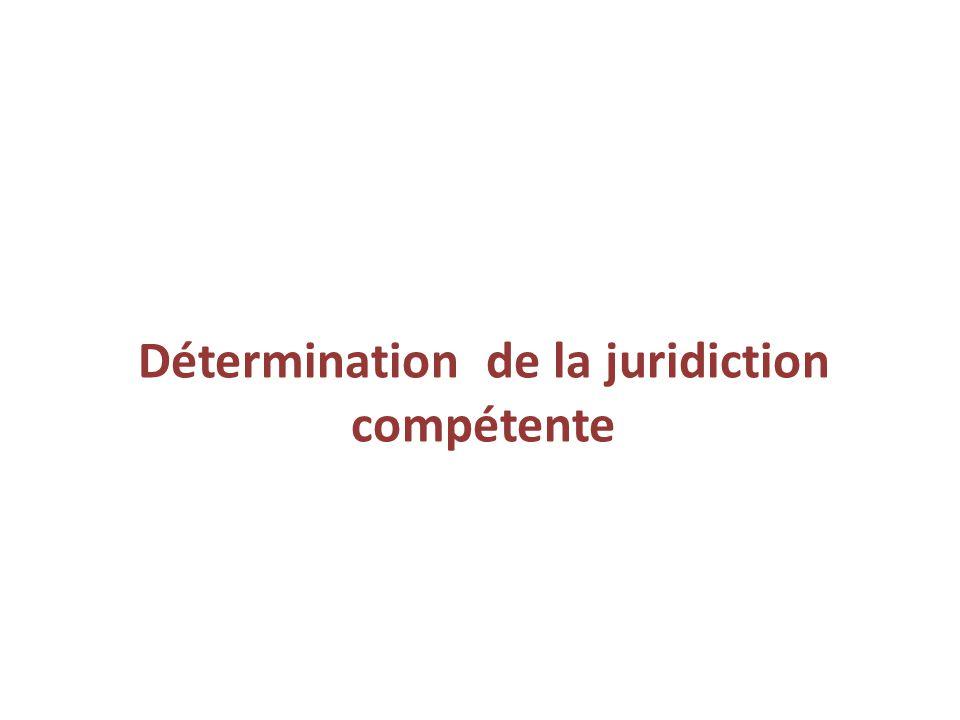 Détermination de la juridiction compétente