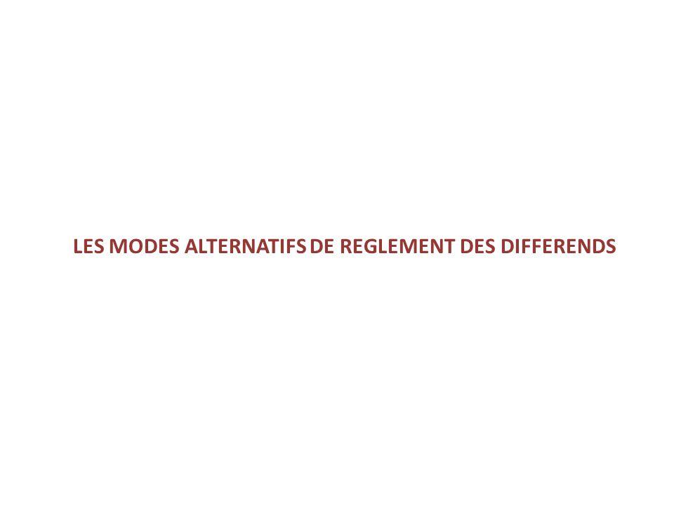 LES MODES ALTERNATIFS DE REGLEMENT DES DIFFERENDS