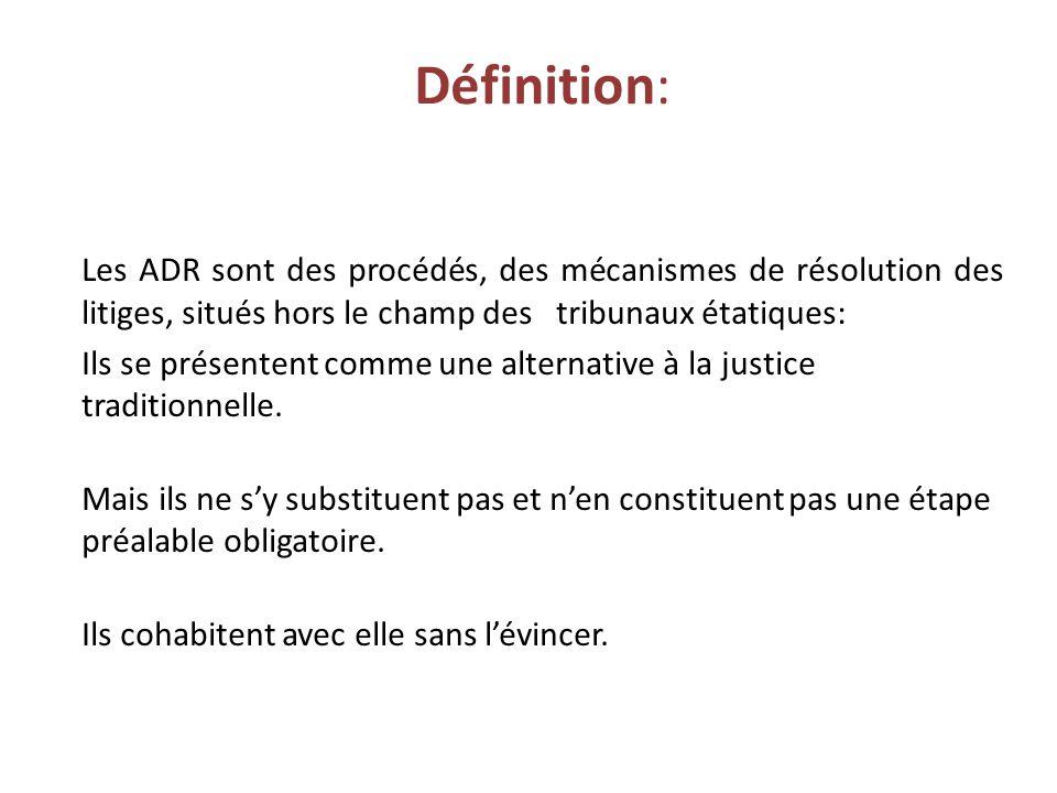 Définition: Les ADR sont des procédés, des mécanismes de résolution des litiges, situés hors le champ des tribunaux étatiques: