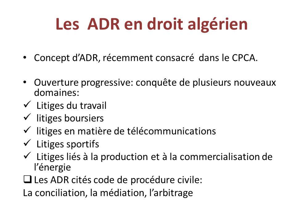 Les ADR en droit algérien