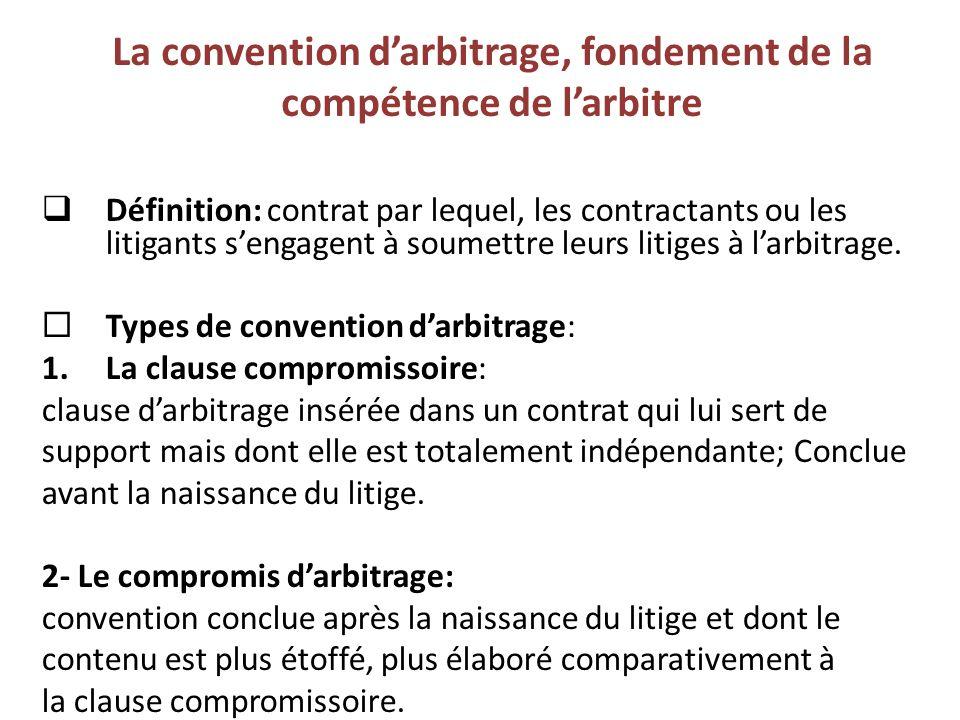 La convention d'arbitrage, fondement de la compétence de l'arbitre