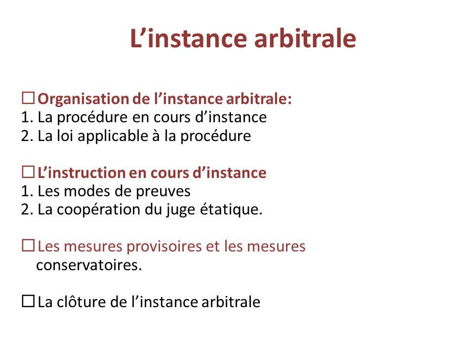 L'instance arbitrale Organisation de l'instance arbitrale: