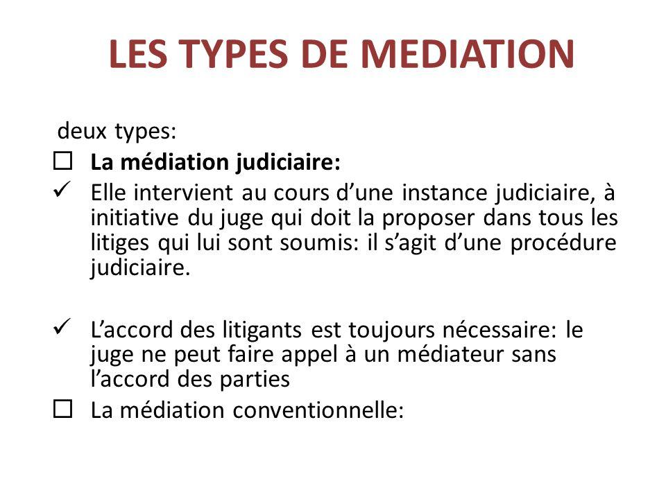 LES TYPES DE MEDIATION deux types: La médiation judiciaire: