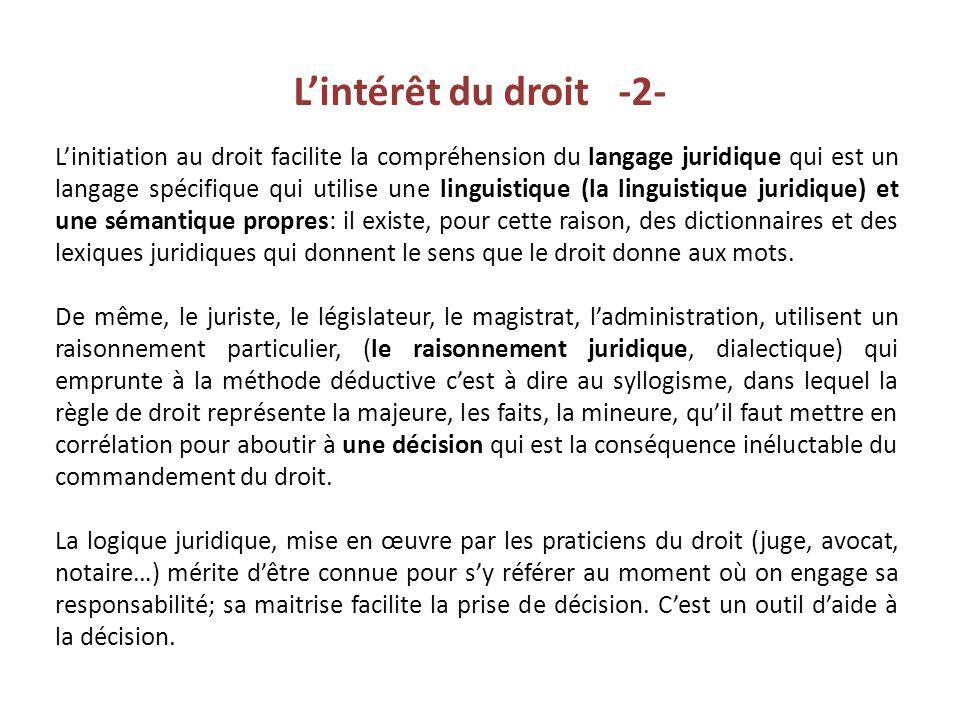 L'intérêt du droit -2-