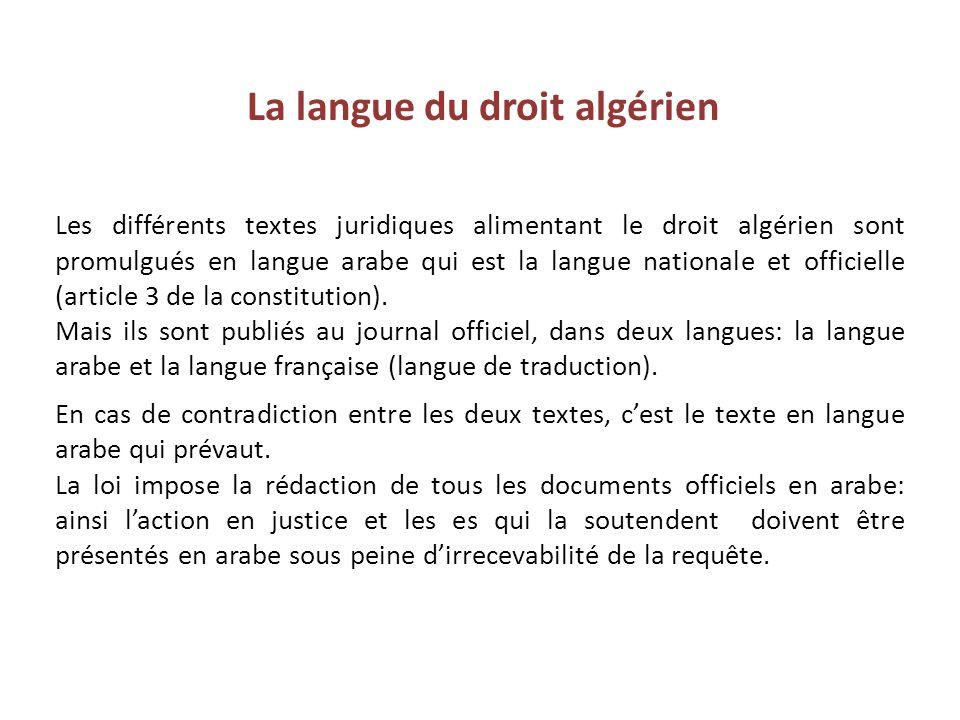 La langue du droit algérien