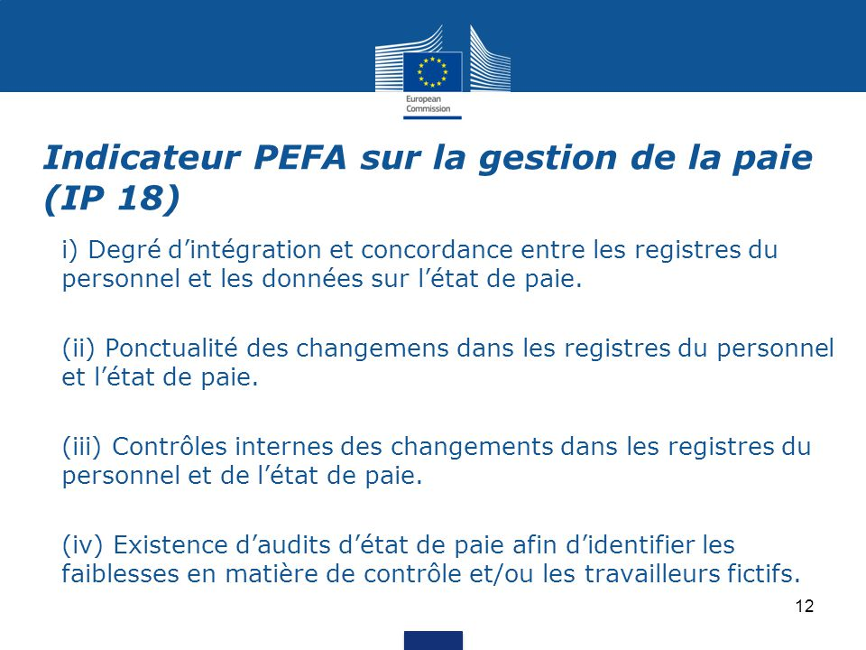 Indicateur PEFA sur la gestion de la paie (IP 18)