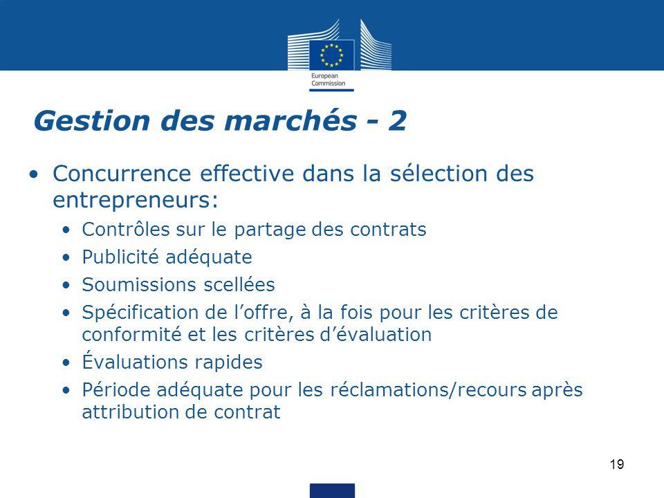 Gestion des marchés - 2 Concurrence effective dans la sélection des entrepreneurs: Contrôles sur le partage des contrats.