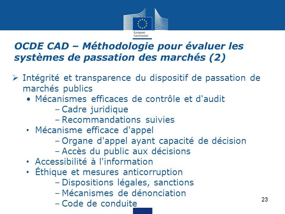 OCDE CAD – Méthodologie pour évaluer les systèmes de passation des marchés (2)