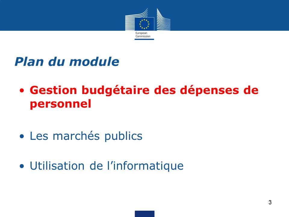 Plan du module Gestion budgétaire des dépenses de personnel