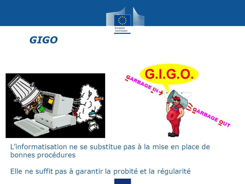 GIGO L'informatisation ne se substitue pas à la mise en place de bonnes procédures.