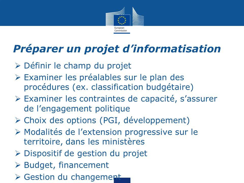 Préparer un projet d'informatisation